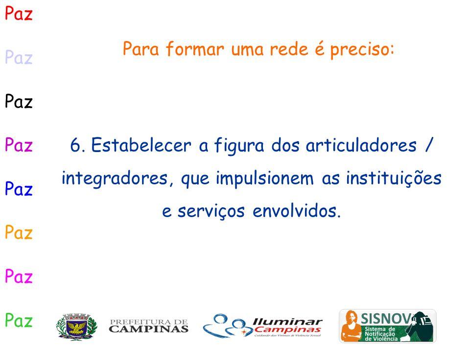 Paz Para formar uma rede é preciso: 6. Estabelecer a figura dos articuladores / integradores, que impulsionem as instituições e serviços envolvidos.