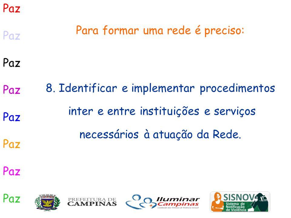 Paz Para formar uma rede é preciso: 8. Identificar e implementar procedimentos inter e entre instituições e serviços necessários à atuação da Rede.
