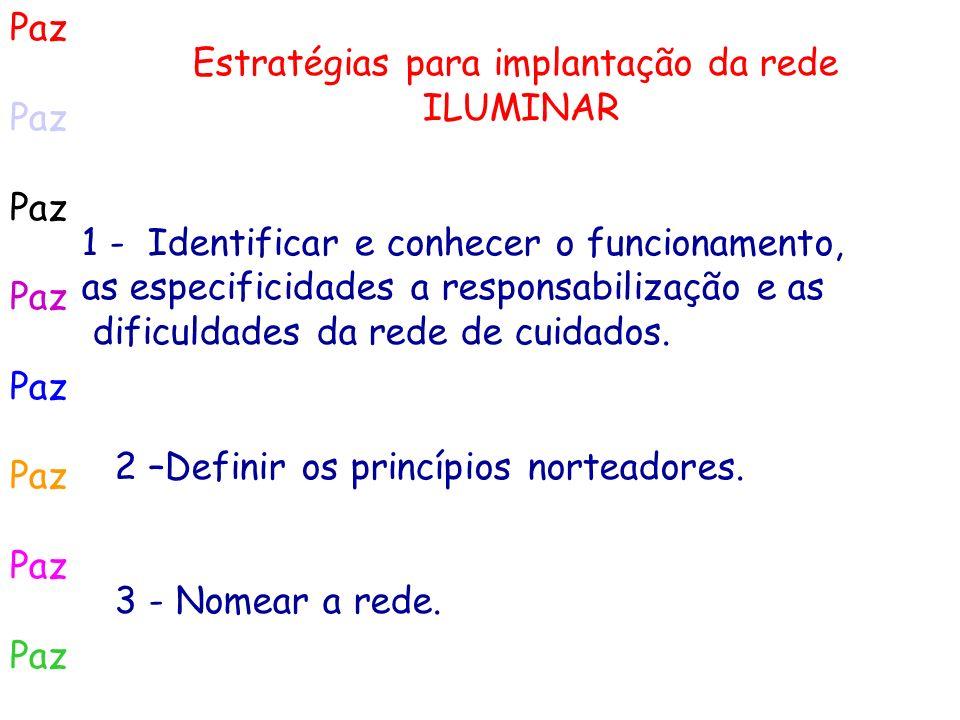 Paz Estratégias para implantação da rede ILUMINAR 1 - Identificar e conhecer o funcionamento, as especificidades a responsabilização e as dificuldades