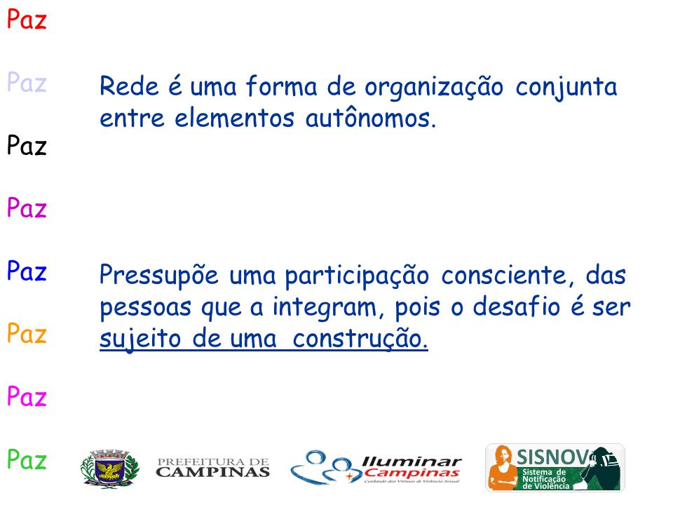 Paz ITINERÁRIOS Rede de Cuidados Indiretos Rede Cuidados Diretos