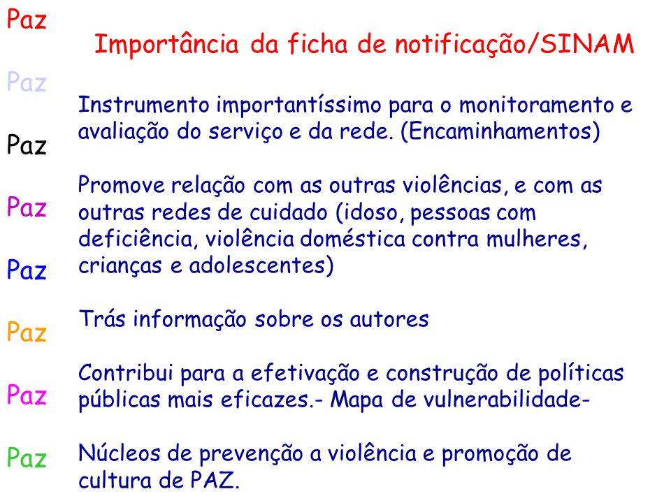 Paz Importância da ficha de notificação/SINAM Instrumento importantíssimo para o monitoramento e avaliação do serviço e da rede. (Encaminhamentos) Pro