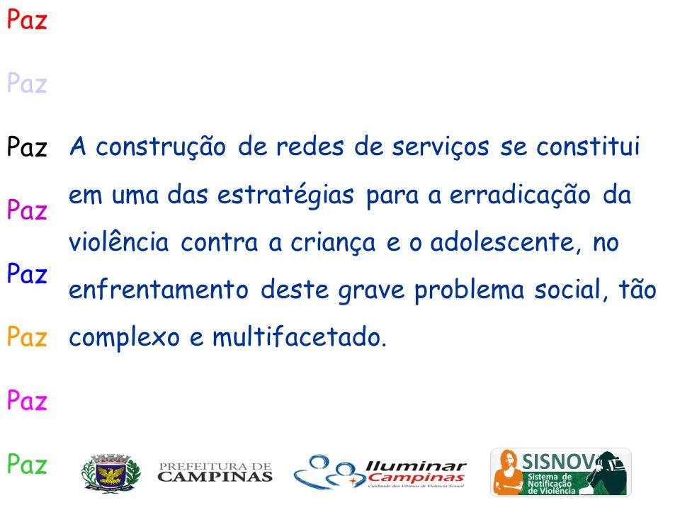 Paz A construção de redes de serviços se constitui em uma das estratégias para a erradicação da violência contra a criança e o adolescente, no enfrent
