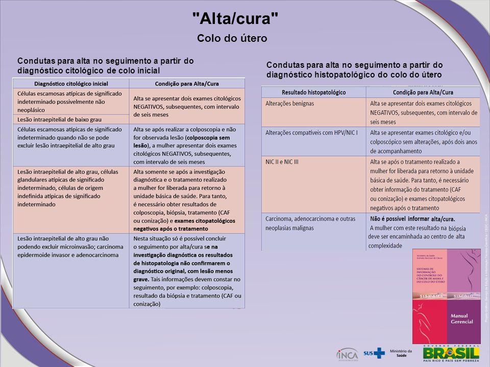 Alta/cura Condutas para alta no seguimento a partir do diagnóstico citológico de colo inicial Condutas para alta no seguimento a partir do diagnóstico histopatológico do colo do útero Colo do útero