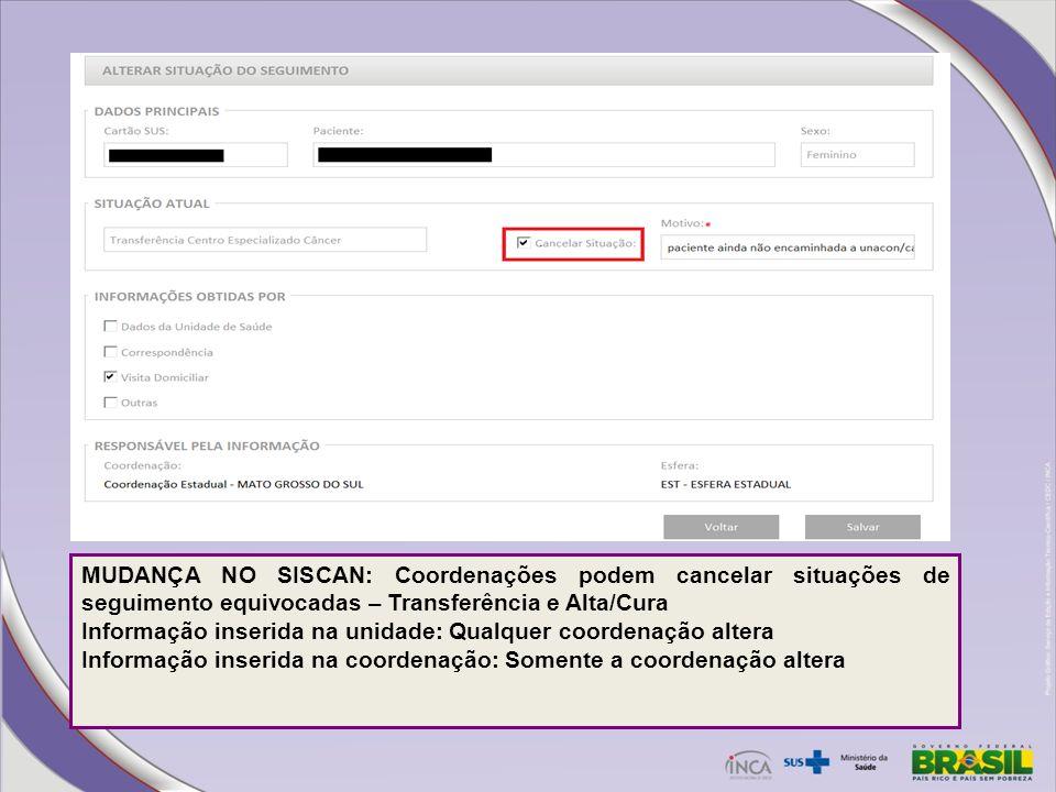 MUDANÇA NO SISCAN: Coordenações podem cancelar situações de seguimento equivocadas – Transferência e Alta/Cura Informação inserida na unidade: Qualque