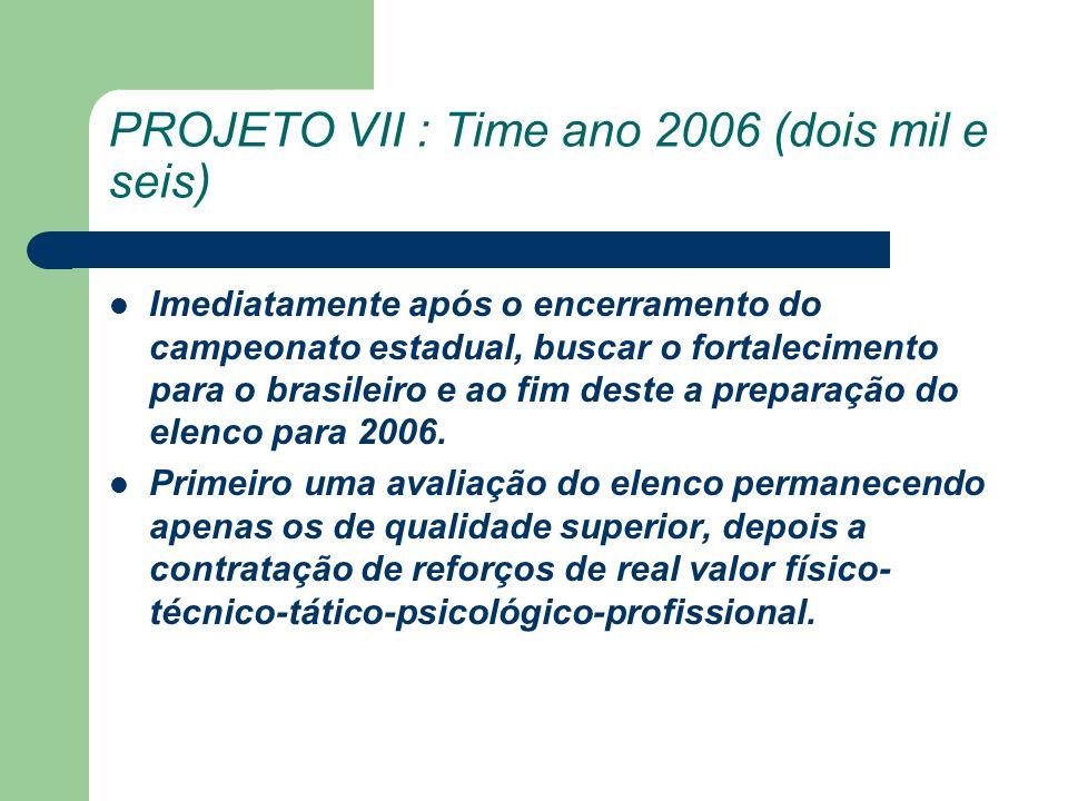 PROJETO VII : Time ano 2006 (dois mil e seis) Imediatamente após o encerramento do campeonato estadual, buscar o fortalecimento para o brasileiro e ao fim deste a preparação do elenco para 2006.