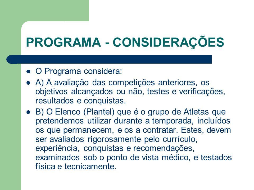 PROGRAMA - CONSIDERAÇÕES O Programa considera: A) A avaliação das competições anteriores, os objetivos alcançados ou não, testes e verificações, resultados e conquistas.