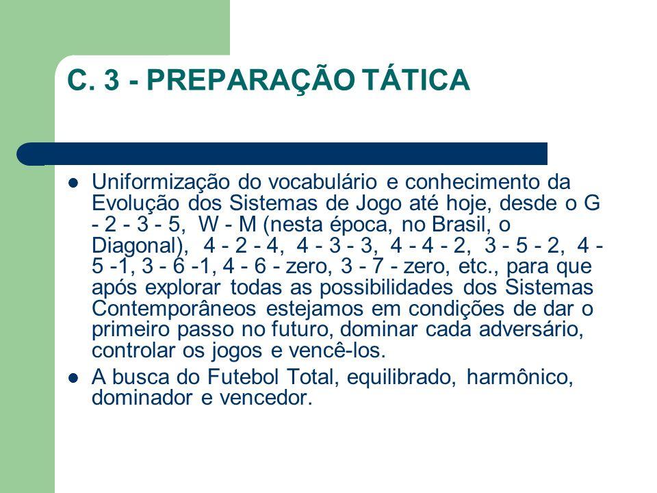 C. 3 - PREPARAÇÃO TÁTICA Uniformização do vocabulário e conhecimento da Evolução dos Sistemas de Jogo até hoje, desde o G - 2 - 3 - 5, W - M (nesta ép