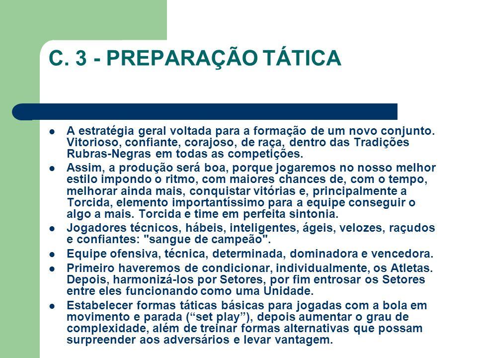 C.3 - PREPARAÇÃO TÁTICA A estratégia geral voltada para a formação de um novo conjunto.