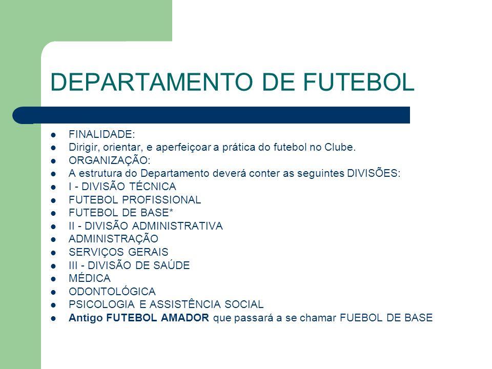 DEPARTAMENTO DE FUTEBOL FINALIDADE: Dirigir, orientar, e aperfeiçoar a prática do futebol no Clube.