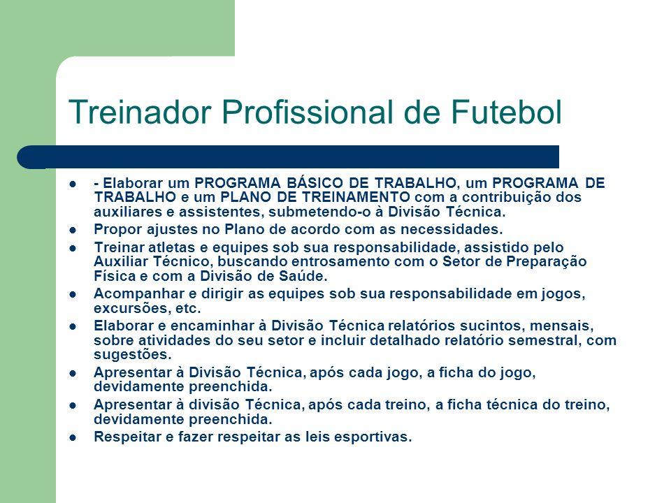 Treinador Profissional de Futebol - Elaborar um PROGRAMA BÁSICO DE TRABALHO, um PROGRAMA DE TRABALHO e um PLANO DE TREINAMENTO com a contribuição dos auxiliares e assistentes, submetendo-o à Divisão Técnica.