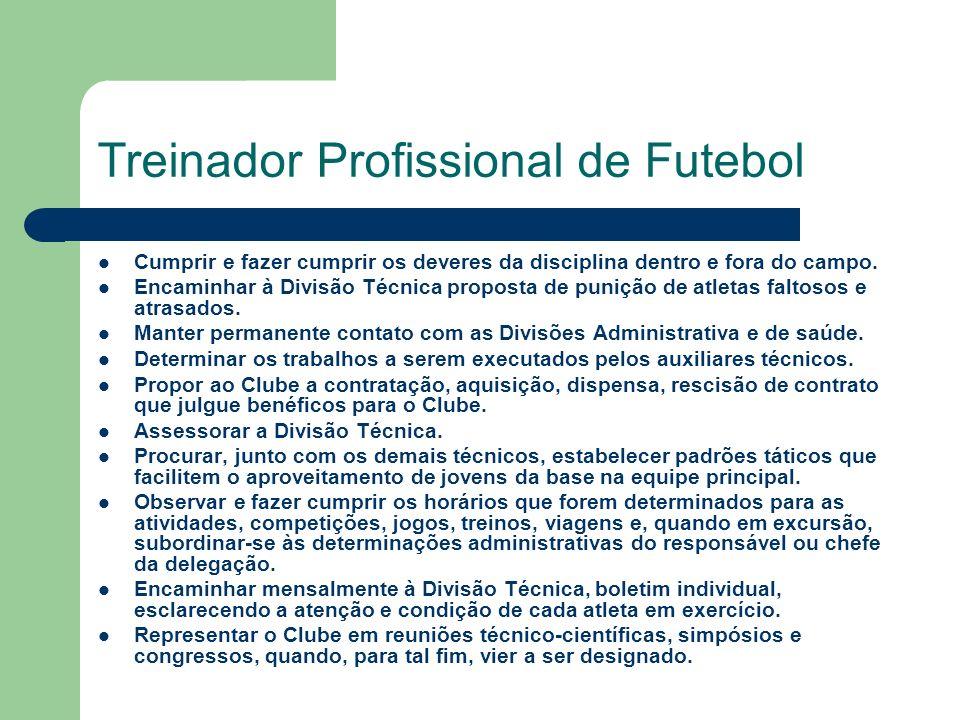 Treinador Profissional de Futebol Cumprir e fazer cumprir os deveres da disciplina dentro e fora do campo.