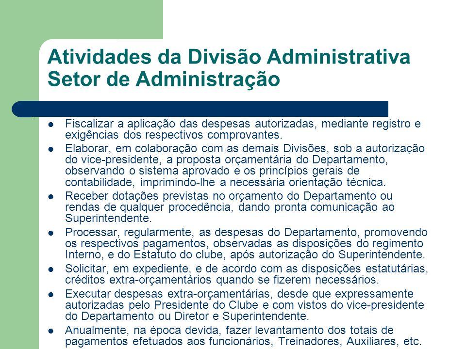 Atividades da Divisão Administrativa Setor de Administração Fiscalizar a aplicação das despesas autorizadas, mediante registro e exigências dos respectivos comprovantes.