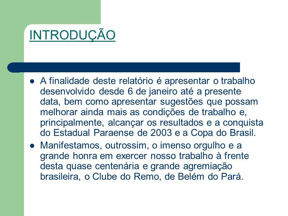 INTRODUÇÃO A finalidade deste relatório é apresentar o trabalho desenvolvido desde 6 de janeiro até a presente data, bem como apresentar sugestões que possam melhorar ainda mais as condições de trabalho e, principalmente, alcançar os resultados e a conquista do Estadual Paraense de 2003 e a Copa do Brasil.