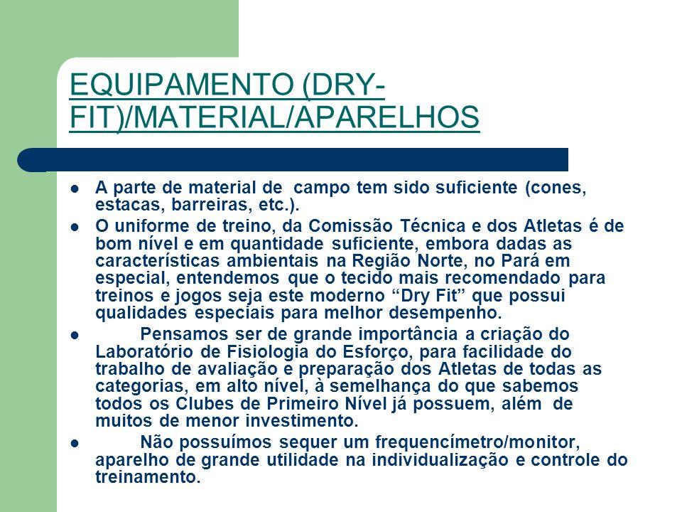 EQUIPAMENTO (DRY- FIT)/MATERIAL/APARELHOS A parte de material de campo tem sido suficiente (cones, estacas, barreiras, etc.).