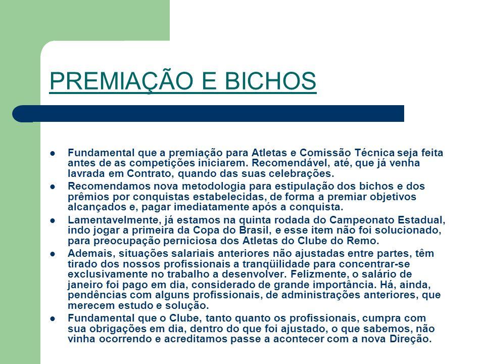 PREMIAÇÃO E BICHOS Fundamental que a premiação para Atletas e Comissão Técnica seja feita antes de as competições iniciarem.