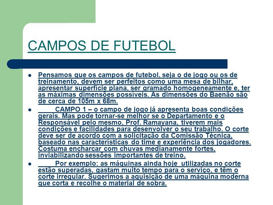 CAMPOS DE FUTEBOL Pensamos que os campos de futebol, seja o de jogo ou os de treinamento, devem ser perfeitos como uma mesa de bilhar, apresentar superfície plana, ser gramado homogeneamente e, ter as máximas dimensões possíveis.