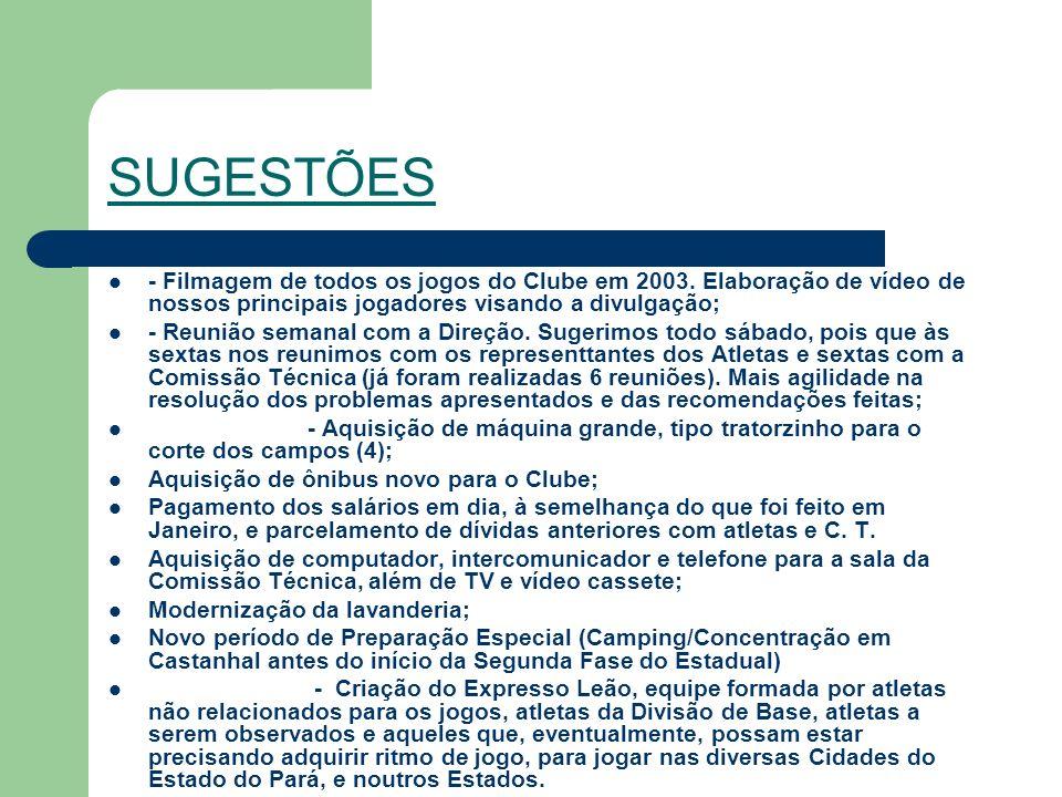 SUGESTÕES - Filmagem de todos os jogos do Clube em 2003.
