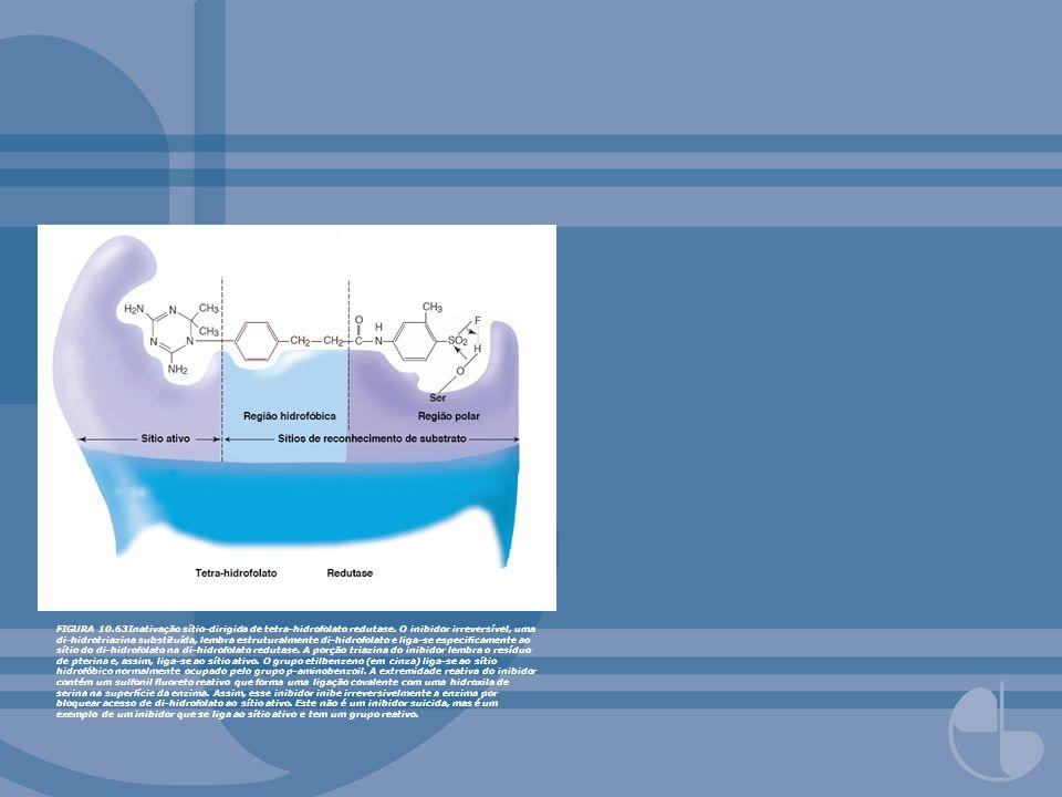 FIGURA 10.63Inativação sítio-dirigida de tetra-hidrofolato redutase. O inibidor irreversível, uma di-hidrotriazina substituída, lembra estruturalmente
