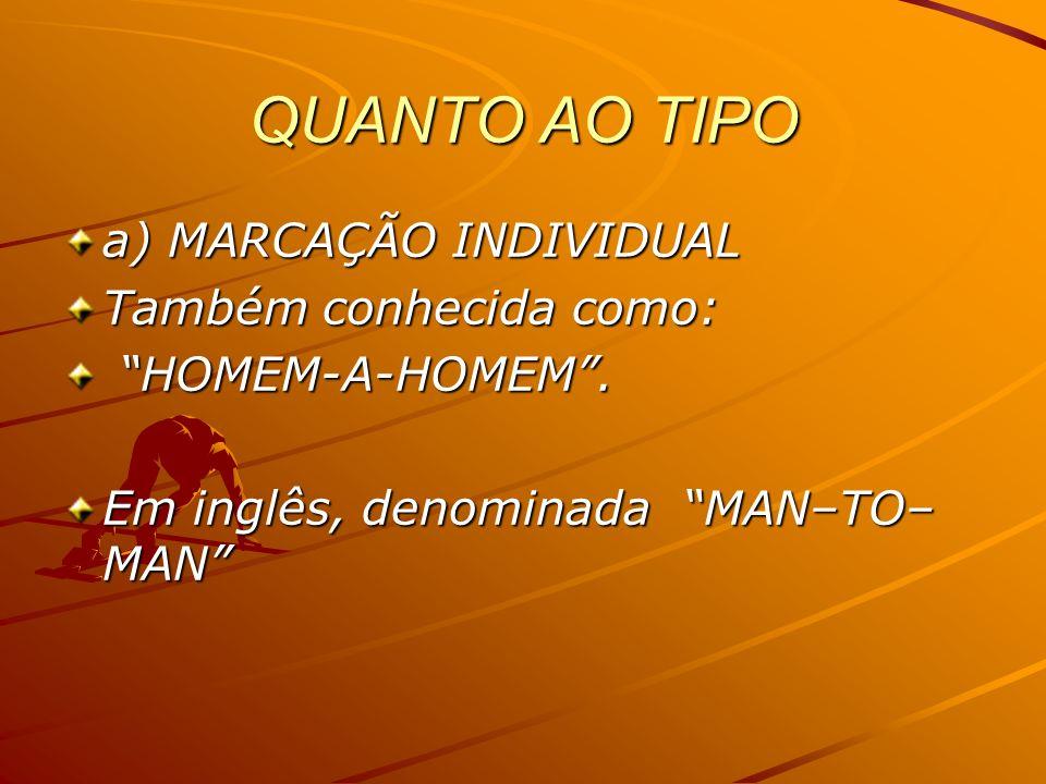 QUANTO AO TIPO a) MARCAÇÃO INDIVIDUAL Também conhecida como: HOMEM-A-HOMEM. HOMEM-A-HOMEM. Em inglês, denominada MAN–TO– MAN