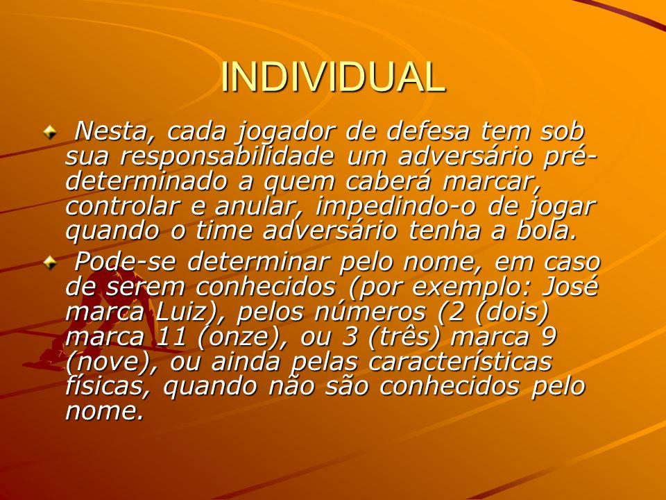 INDIVIDUAL Nesta, cada jogador de defesa tem sob sua responsabilidade um adversário pré- determinado a quem caberá marcar, controlar e anular, impedin