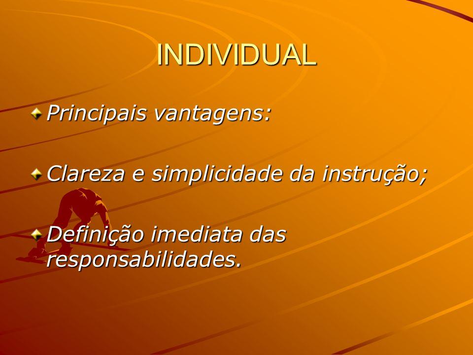 INDIVIDUAL Principais vantagens: Clareza e simplicidade da instrução; Definição imediata das responsabilidades.