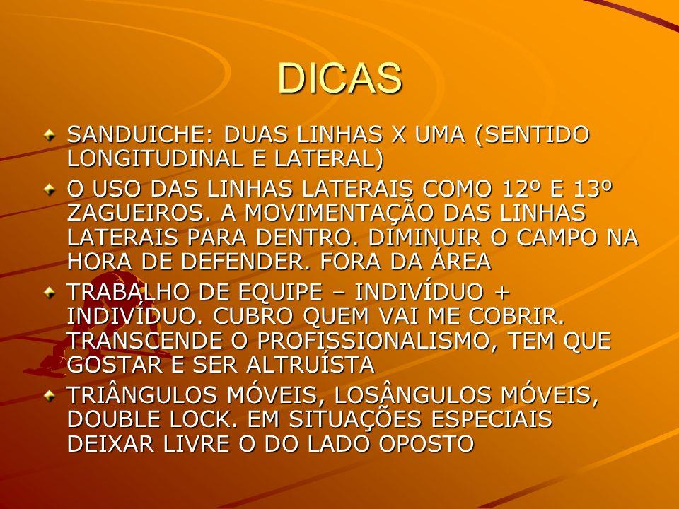 DICAS SANDUICHE: DUAS LINHAS X UMA (SENTIDO LONGITUDINAL E LATERAL) O USO DAS LINHAS LATERAIS COMO 12º E 13º ZAGUEIROS. A MOVIMENTAÇÃO DAS LINHAS LATE
