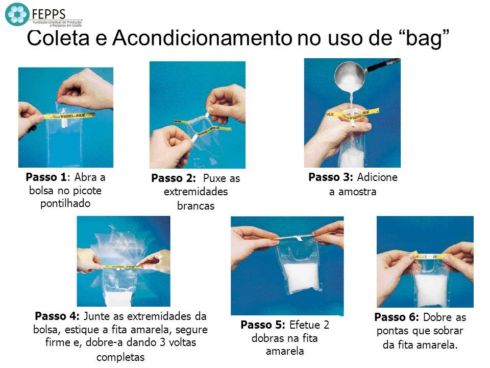 Passo 1: Abra a bolsa no picote pontilhado Coleta e Acondicionamento no uso de bag Passo 2: Puxe as extremidades brancas Passo 3: Adicione a amostra P