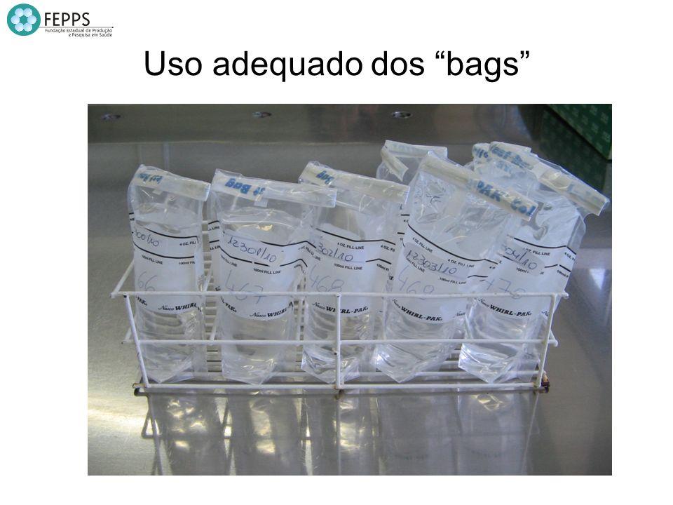 Uso inadequado dos bags Problemas no fechamento dos bags: enrolados, mal fechados;