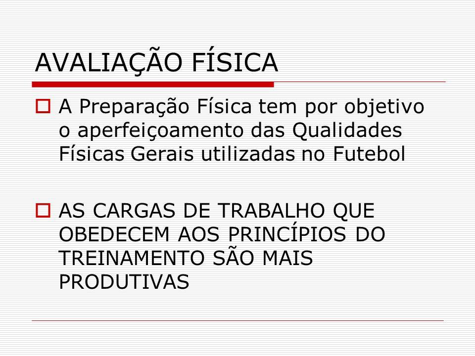 AVALIAÇÃO FÍSICA A Preparação Física tem por objetivo o aperfeiçoamento das Qualidades Físicas Gerais utilizadas no Futebol AS CARGAS DE TRABALHO QUE