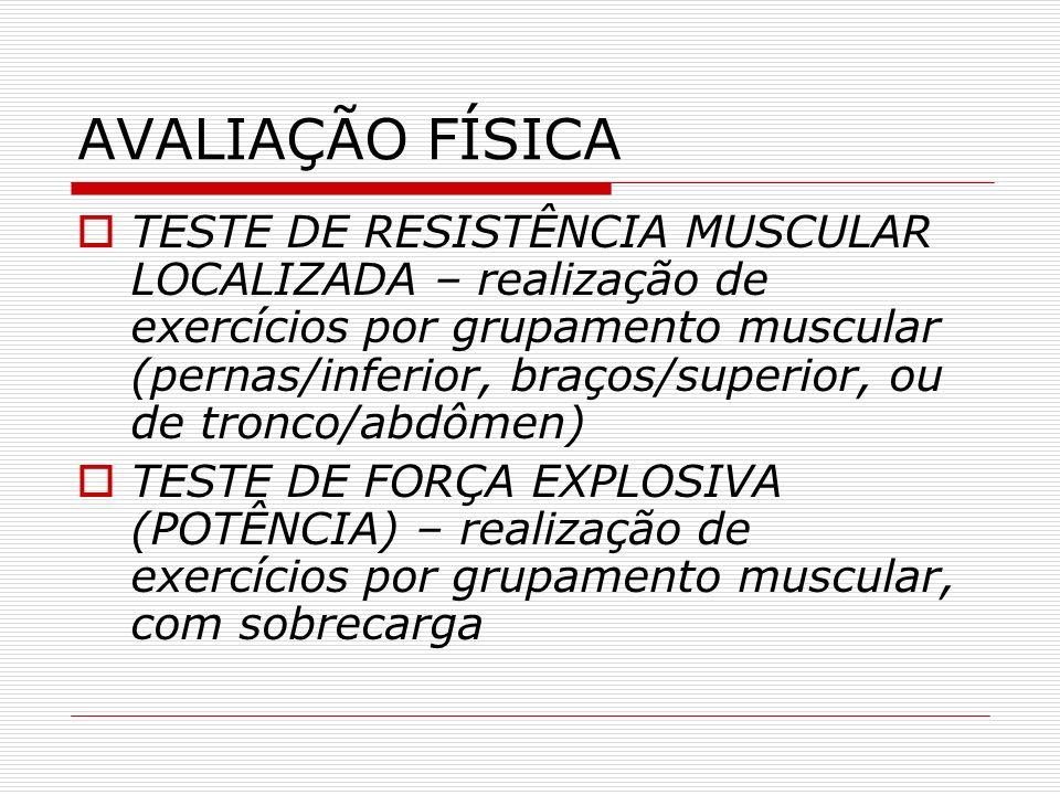AVALIAÇÃO FÍSICA TESTE DE RESISTÊNCIA MUSCULAR LOCALIZADA – realização de exercícios por grupamento muscular (pernas/inferior, braços/superior, ou de