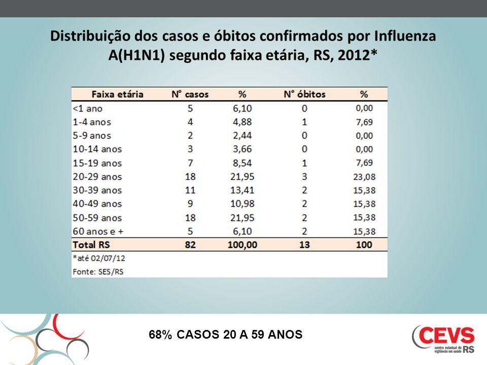 Distribuição dos casos e óbitos confirmados por Influenza A(H1N1) segundo faixa etária, RS, 2012* 68% CASOS 20 A 59 ANOS