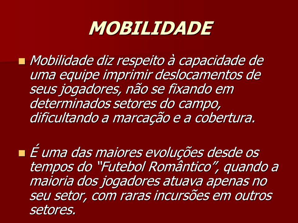 MOBILIDADE Mobilidade diz respeito à capacidade de uma equipe imprimir deslocamentos de seus jogadores, não se fixando em determinados setores do campo, dificultando a marcação e a cobertura.