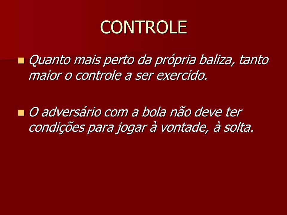 CONTROLE Quanto mais perto da própria baliza, tanto maior o controle a ser exercido.