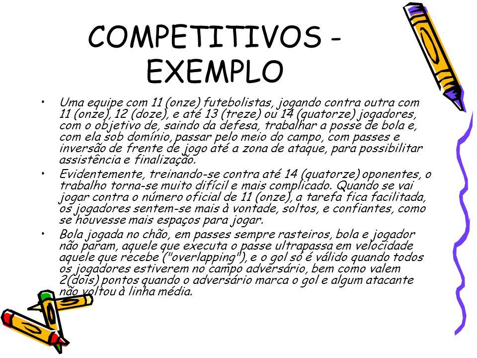 COMPETITIVOS - EXEMPLO Uma equipe com 11 (onze) futebolistas, jogando contra outra com 11 (onze), 12 (doze), e até 13 (treze) ou 14 (quatorze) jogador