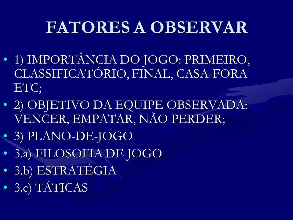 FATORES A OBSERVAR 1) IMPORTÂNCIA DO JOGO: PRIMEIRO, CLASSIFICATÓRIO, FINAL, CASA-FORA ETC;1) IMPORTÂNCIA DO JOGO: PRIMEIRO, CLASSIFICATÓRIO, FINAL, C