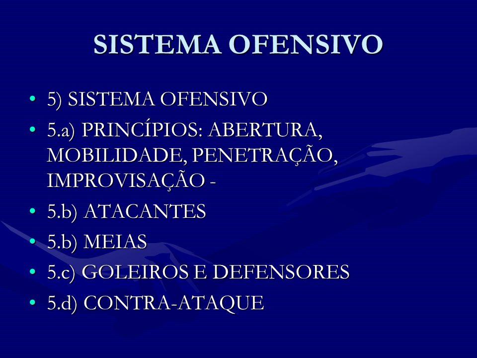 SISTEMA OFENSIVO 5) SISTEMA OFENSIVO5) SISTEMA OFENSIVO 5.a) PRINCÍPIOS: ABERTURA, MOBILIDADE, PENETRAÇÃO, IMPROVISAÇÃO -5.a) PRINCÍPIOS: ABERTURA, MO