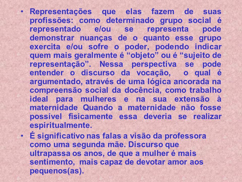 Representações que elas fazem de suas profissões: como determinado grupo social é representado e/ou se representa pode demonstrar nuanças de o quanto