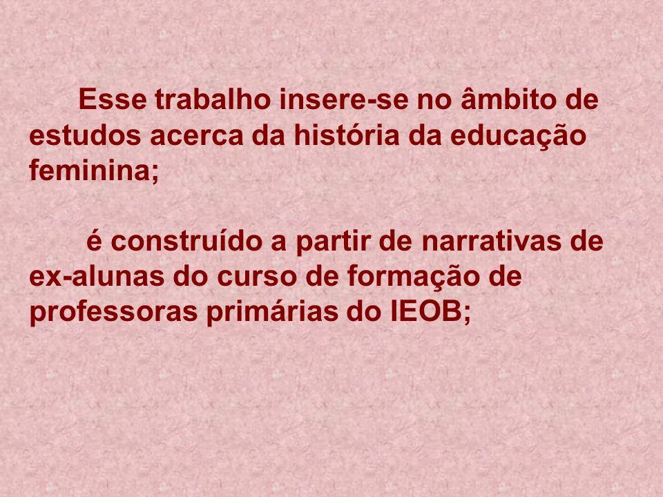 Esse trabalho insere-se no âmbito de estudos acerca da história da educação feminina; é construído a partir de narrativas de ex-alunas do curso de formação de professoras primárias do IEOB;