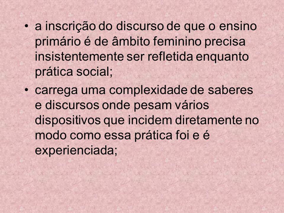 a inscrição do discurso de que o ensino primário é de âmbito feminino precisa insistentemente ser refletida enquanto prática social; carrega uma compl