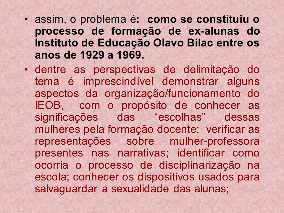assim, o problema é: como se constituiu o processo de formação de ex-alunas do Instituto de Educação Olavo Bilac entre os anos de 1929 a 1969. dentre