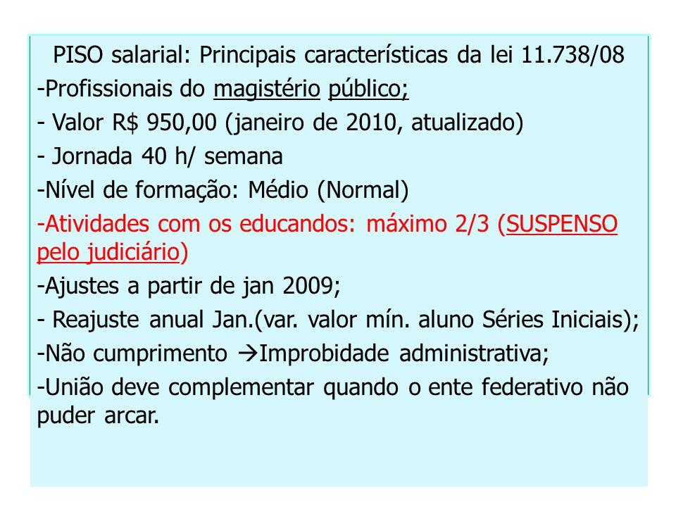 PISO salarial: Principais características da lei 11.738/08 -Profissionais do magistério público; - Valor R$ 950,00 (janeiro de 2010, atualizado) - Jor