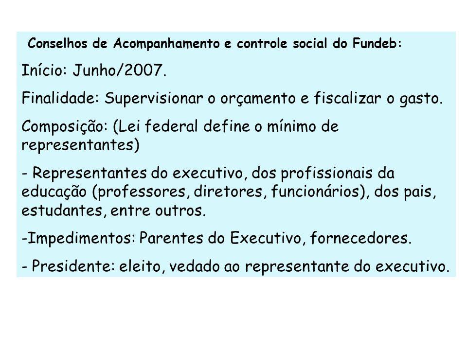Conselhos de Acompanhamento e controle social do Fundeb: Início: Junho/2007. Finalidade: Supervisionar o orçamento e fiscalizar o gasto. Composição: (