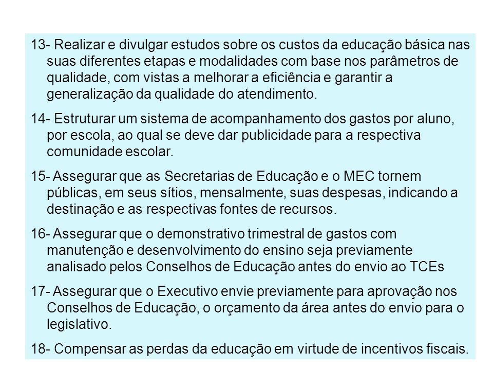 13- Realizar e divulgar estudos sobre os custos da educação básica nas suas diferentes etapas e modalidades com base nos parâmetros de qualidade, com