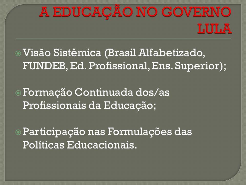 Visão Sistêmica (Brasil Alfabetizado, FUNDEB, Ed.Profissional, Ens.