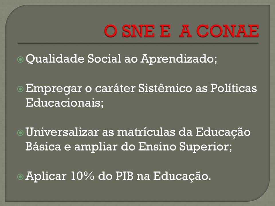 Qualidade Social ao Aprendizado; Empregar o caráter Sistêmico as Políticas Educacionais; Universalizar as matrículas da Educação Básica e ampliar do Ensino Superior; Aplicar 10% do PIB na Educação.