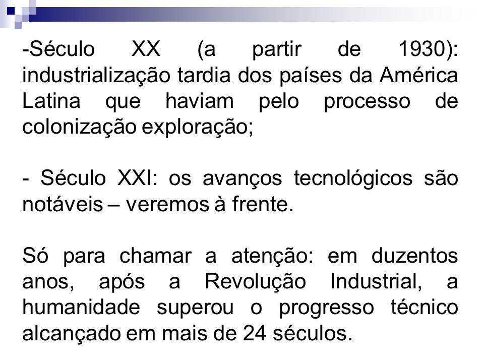 -Século XX (a partir de 1930): industrialização tardia dos países da América Latina que haviam pelo processo de colonização exploração; - Século XXI:
