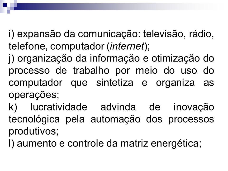 i) expansão da comunicação: televisão, rádio, telefone, computador (internet); j) organização da informação e otimização do processo de trabalho por m