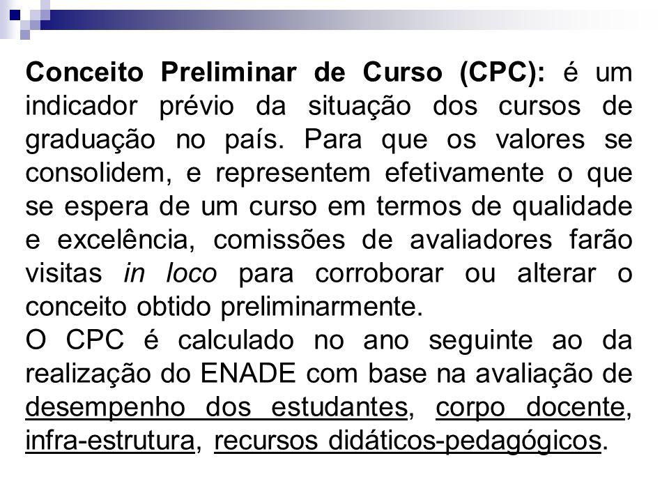 Conceito Preliminar de Curso (CPC): é um indicador prévio da situação dos cursos de graduação no país. Para que os valores se consolidem, e represente