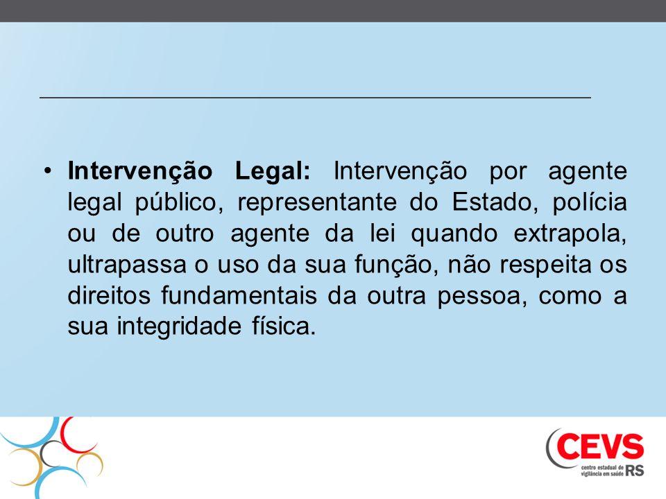 Intervenção Legal: Intervenção por agente legal público, representante do Estado, polícia ou de outro agente da lei quando extrapola, ultrapassa o uso