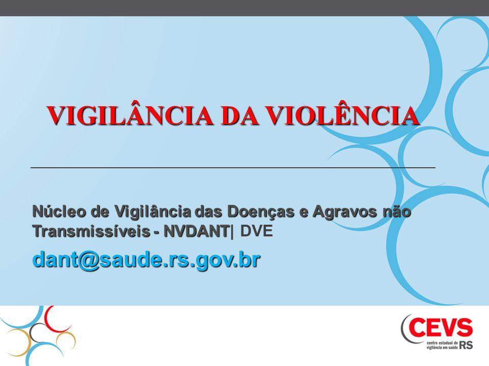 VIGILÂNCIA DA VIOLÊNCIA Núcleo de Vigilância das Doenças e Agravos não Transmissíveis - NVDANT Núcleo de Vigilância das Doenças e Agravos não Transmis